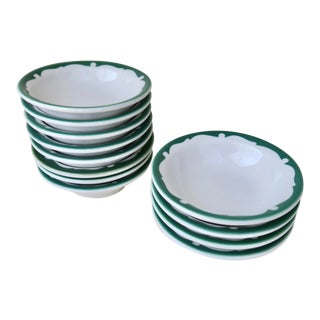 Vintage Shenango China Everglade Green and White Restaurant Ware Small Side Dish Bowl Set of 12 For Sale