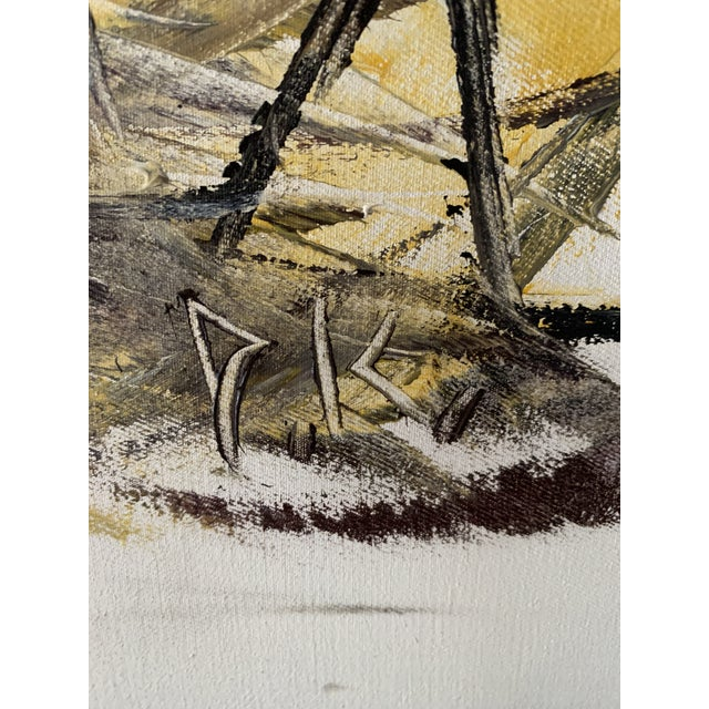 "Mid-Century Style ""Steer"" Painting, Framed For Sale - Image 9 of 13"