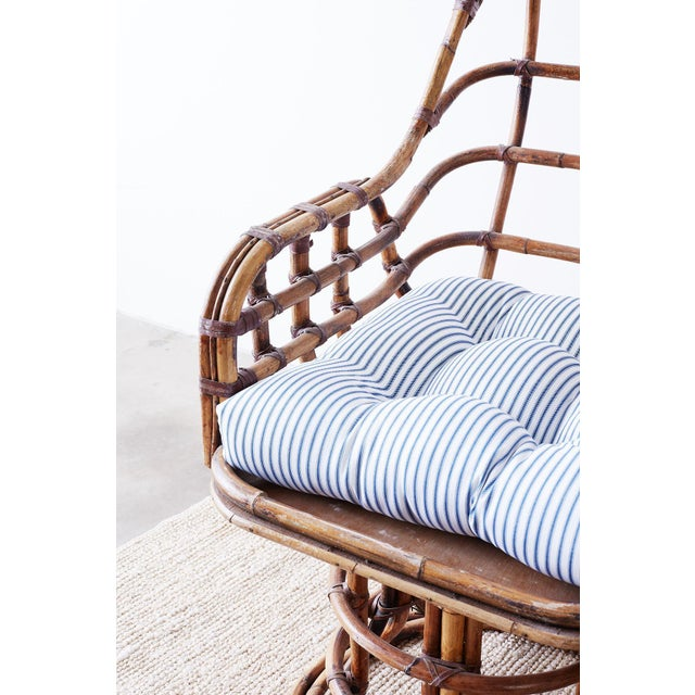 Franco Albini Style Bamboo Rattan Swivel Lounge Chairs For Sale - Image 9 of 13