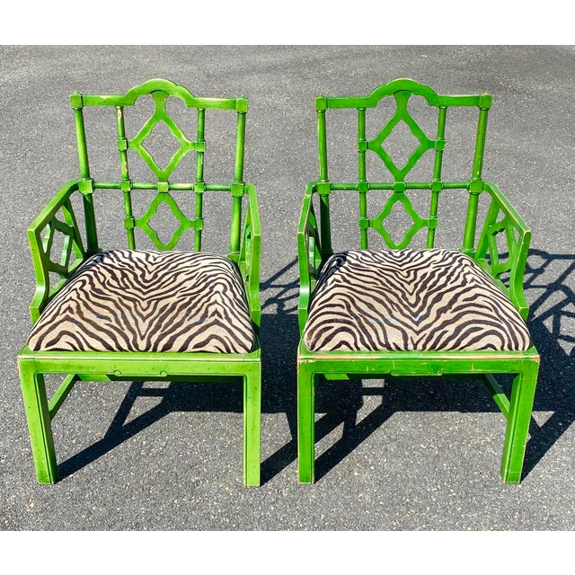 Vintage Hollywood Regency Green Pagoda Chairs with Zebra Fabric - a Pair For Sale - Image 11 of 13