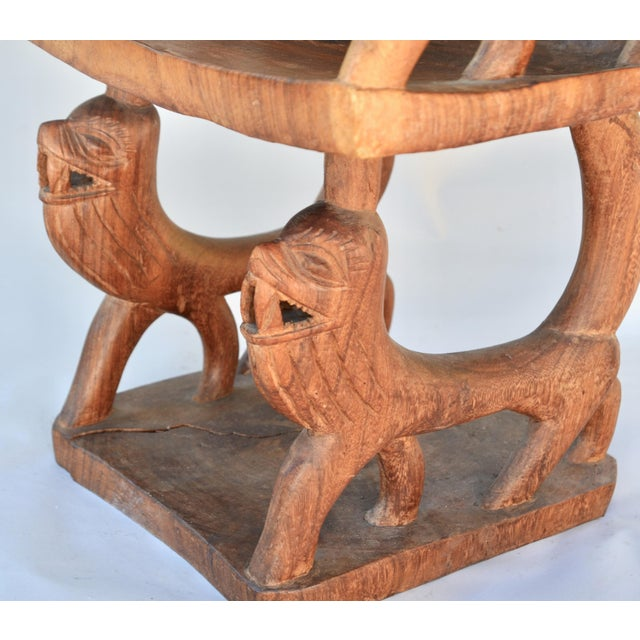 Brown African Benin Tribal Wood Chair For Sale - Image 8 of 10