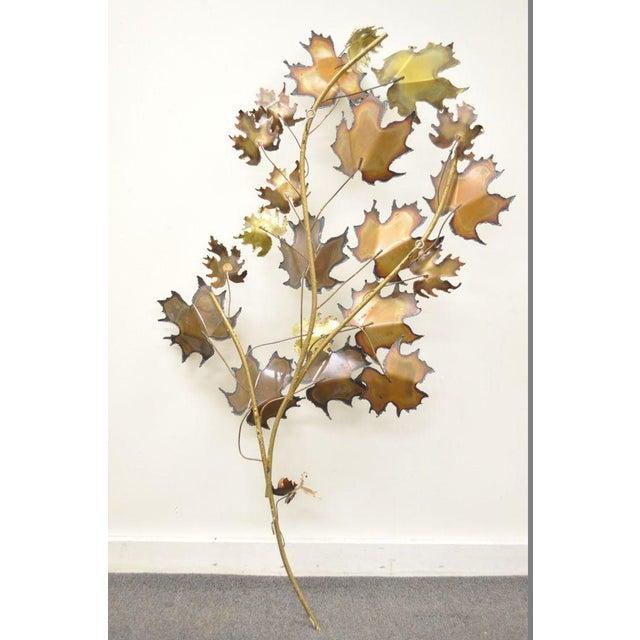 Vintage Mid Century Modern Curtis Jere Maple Leaf Wall Sculpture Brutalist A For Sale - Image 9 of 11