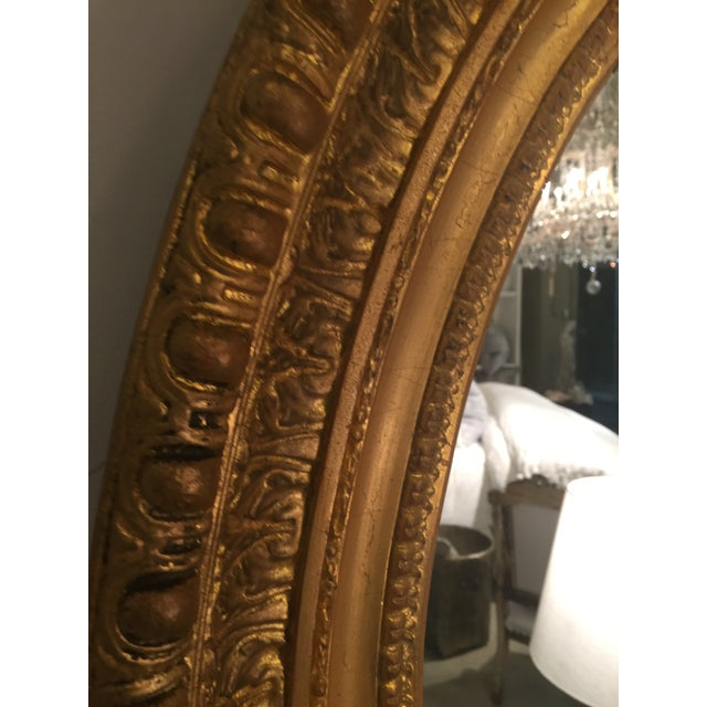 Mid-Century Modern 1940s CB2 Oval Antique Gold Wall Mirror For Sale - Image 3 of 4