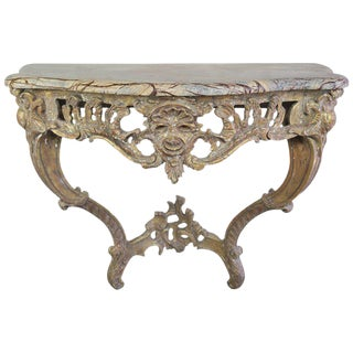 French Giltwood Console with Marble Top, circa 1930s For Sale