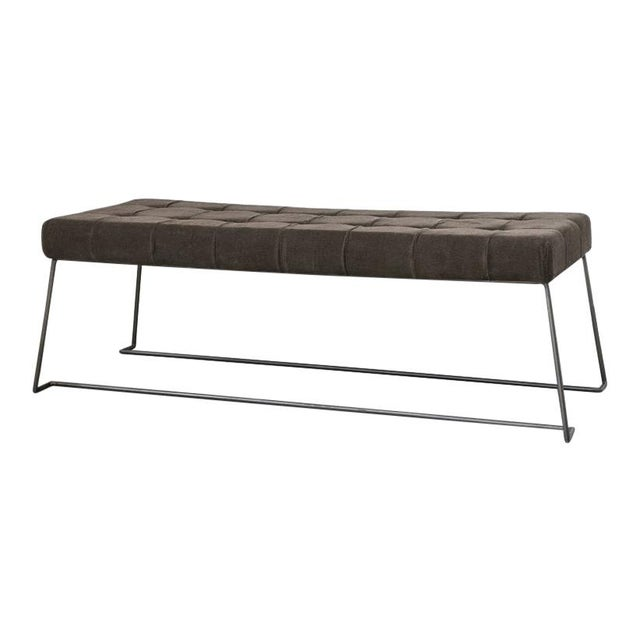 """Mid Century style upholstered bench with brown metal legs and a corduroy upholstered top. Measurements: Width: 50""""..."""