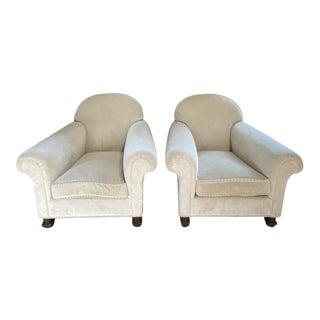 Custom Design Cream Velvet Barrel Club Chairs - a Pair For Sale