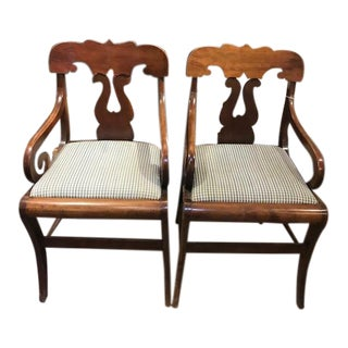 1930s Vintage Walnut Scroll Arm Chairs- A Pair For Sale