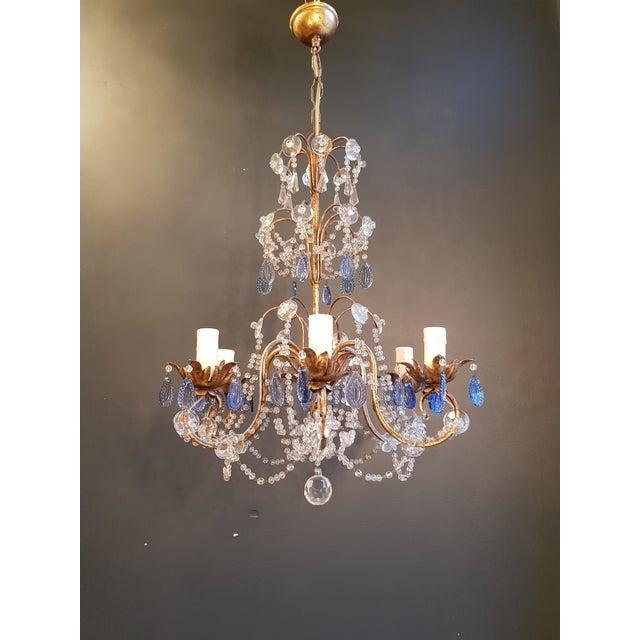 Gold Fine Beaded Blue Crystal Chandelier Antique Ceiling Lamp Lustre Art Nouveau For Sale - Image 8 of 8