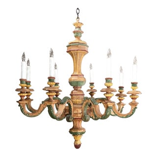 Antique Italian Carved Wood Painted Chandelier For Sale