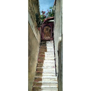 """Beckham Framed Oil Painting """"Via Stairs"""", Contemporary Architectural Scene For Sale"""