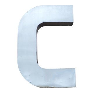 """Antique Industrial Stainless Steel Metal Letter """"C"""""""