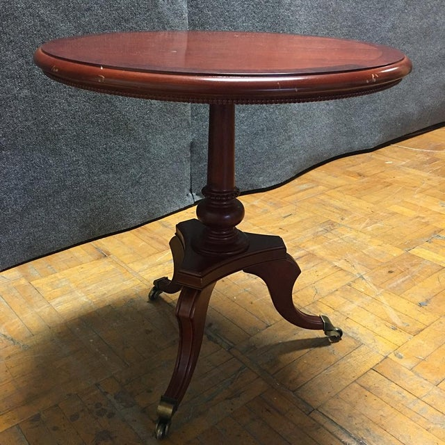 Traditional Cherry-Wood Drum Table W/ Brass Casters - Image 2 of 8