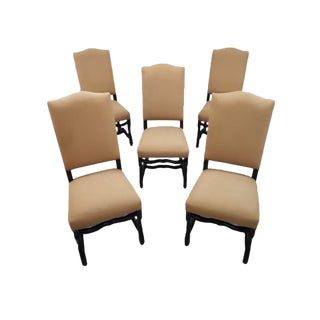 Classic Elegant Set of 5 French Vintage Arch-Top High Back Oak Pinkish Dining Chairs For Sale
