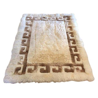 Mid Century Modern Peruvian Alpaca Rug Sheepskin Rug or Wall Textile Art For Sale