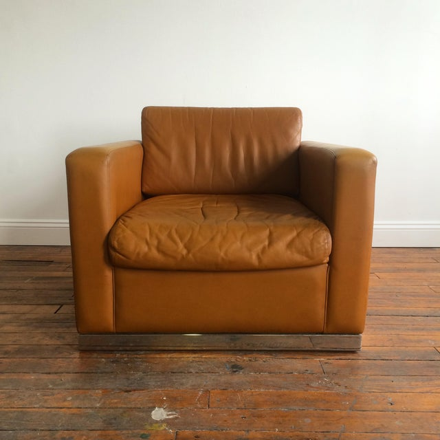 John Geiger Camel-Colored Leather Club Chair - Image 3 of 8