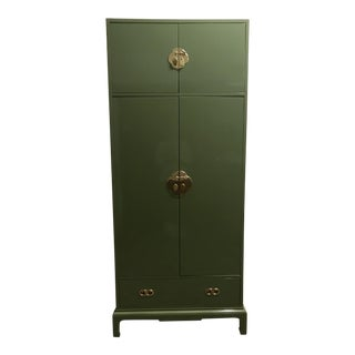 Green Lacquered Armoire by Henredon For Sale