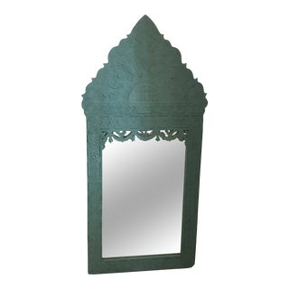 Moroccan Style Turquoise Metal Mirror For Sale