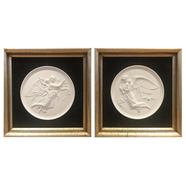19th Century Royal Copenhagen Framed Porcelain Plaques - a Pair For Sale