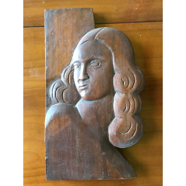 Folk Art Relief Carving of a Woman For Sale - Image 4 of 9