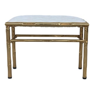 Mid-Century Modern Italian Faux Bamboo Gilt Metal Bench With White Velvet For Sale