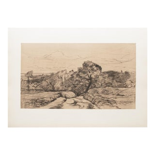 Cottage Style Landscape Lithograph by Charles-Francois Daubigny, 1959 For Sale