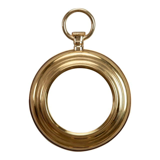 Image of Small French Mid Century Brass Pocket Watch Wall Mirror