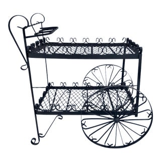 20th Century Spanish Old World Wrought Iron Bar Cart For Sale