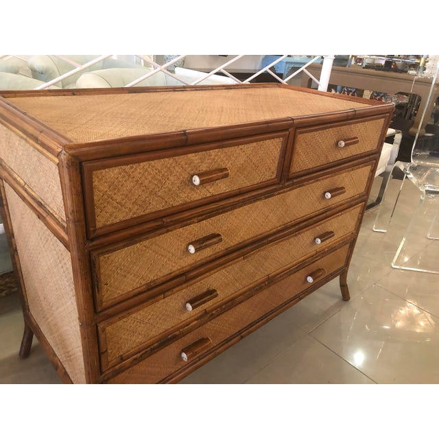 Vintage E. Murio Chinoiserie Tropical Rattan Burnt Bamboo Grasscloth Chest of Drawers Dresser Credenza For Sale - Image 9 of 13