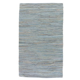 Jaipur Living Raggedy Handmade Solid Blue & Gray Area Rug - 4' X 6' For Sale