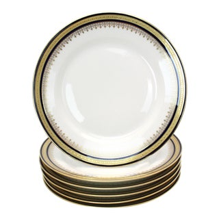 Antique Cobalt and Gold Hutschenreuther Hohenburg Bavaria Salad Plates - Set of 6 For Sale