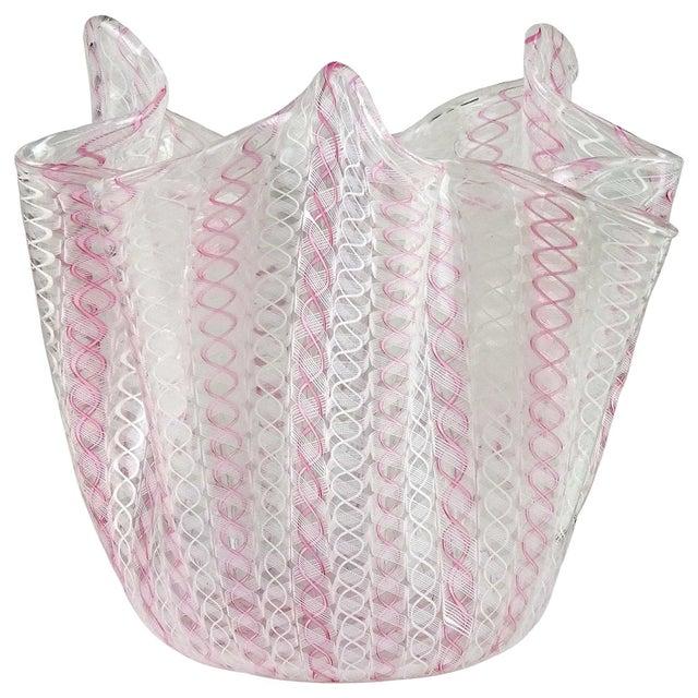 Glass Bianconi Venini Murano Signed Zanfirico Ribbons Italian Art Glass Mid Century Flower Vase For Sale - Image 7 of 7