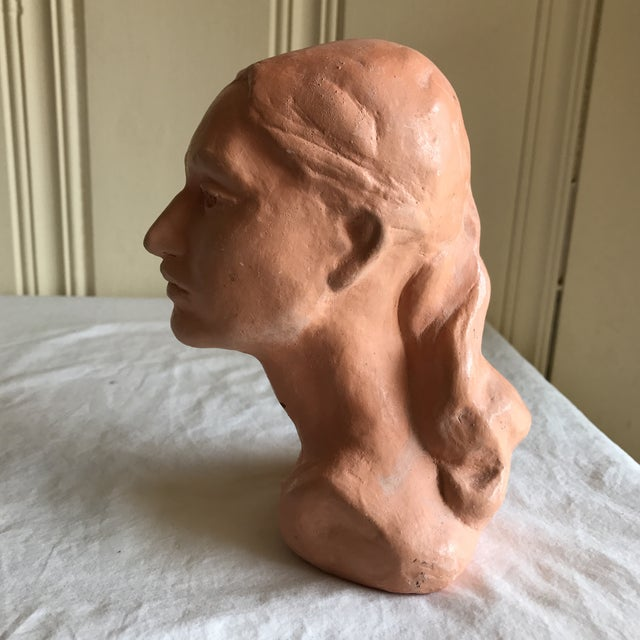 Tan Vintage Artisan Sculpted Female Head Bust For Sale - Image 8 of 11