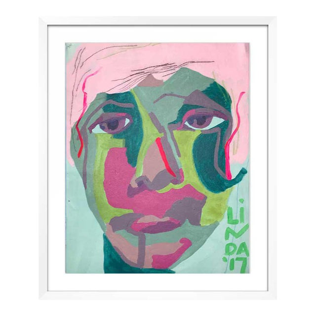 This abstract portrait is by contemporary artist Linda Ward of Detroit. This portrait is #130 out of a series of 500...