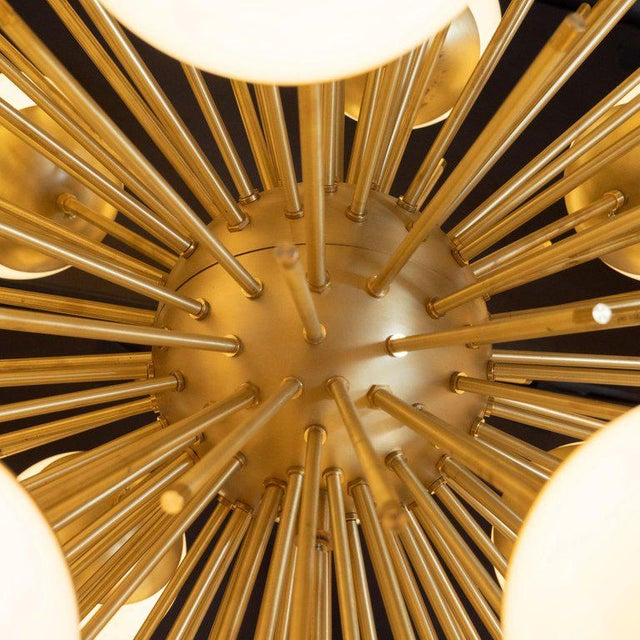 Blown Glass Modernist Hand Blown Murano Frosted Glass and Brushed Brass Sputnik Chandelier For Sale - Image 7 of 9