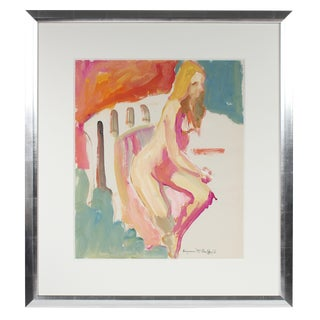 Alysanne McGaffey Colorful Seated Nude Figure With Turquoise Pink Red & Orange, Distemper Drawing 1950-1960s For Sale
