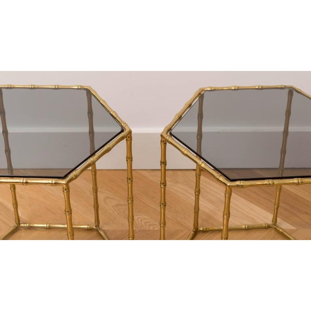 Maison Baguès Style Brass Tables - A Pair For Sale - Image 4 of 5