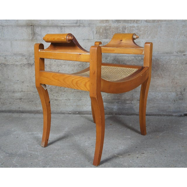 French Country Pine Foot Stool Scrolled Arms Spain Vanity Caned Seat Bench For Sale - Image 4 of 10