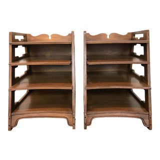 Pair Romweber Viking Oak End Table Nightstands Magazine Shelf 5712 5-950 Scandinavian For Sale