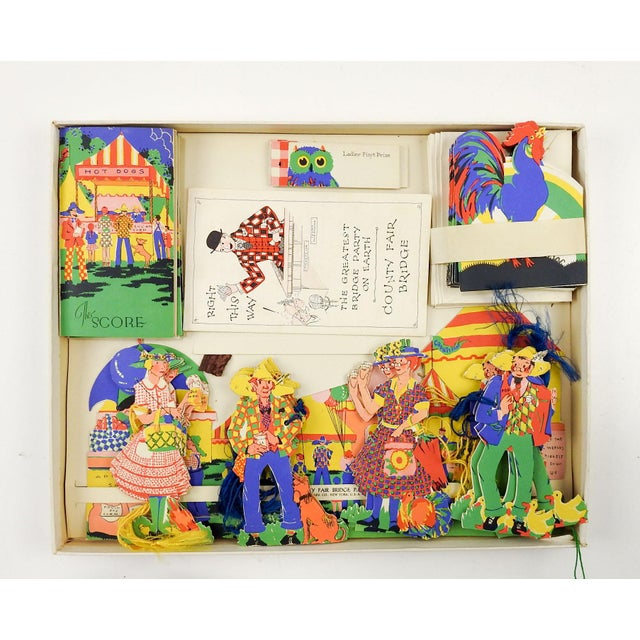 """1930's complete unused box set for bridge party. """"The Country Fair"""" by Charles Clark Co., New York. Deco inspired design..."""