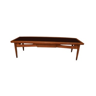 Mid Century Modern Surfboard Coffee Table American of Martinsville Dania Collection Walnut Black Laminate For Sale