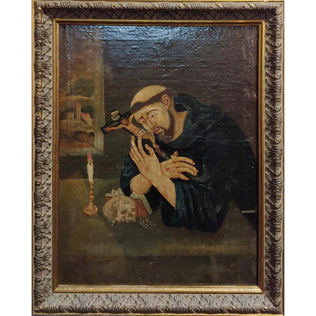 18th century Spanish colonial- Saint Francis of Assisi -Oil painting Oil painting on canvas circa 1760/1800s frame size 15...