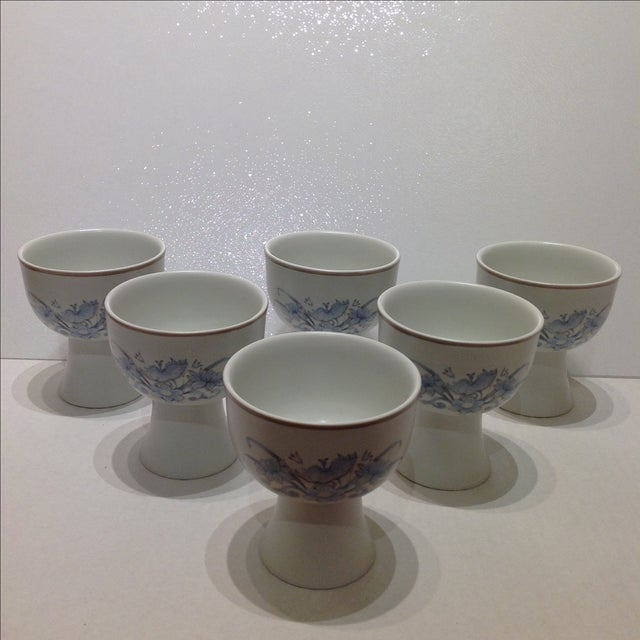 Traditional Royal Doulton Blue Flower Goblets - 6 For Sale - Image 3 of 6