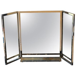 Hollywood Regency Solid Heavy Chrome Plated Tri-Fold Vanity or Table Mirror For Sale