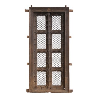Early 19th Century Solid Teak Wood and Ornamental Iron Doors For Sale