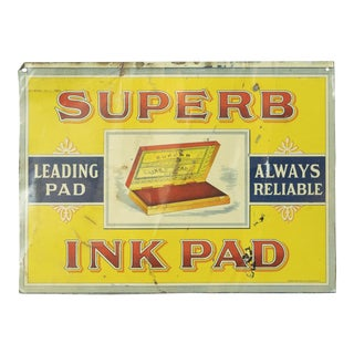 Vintage Superb Ink Pad Tin Sign For Sale