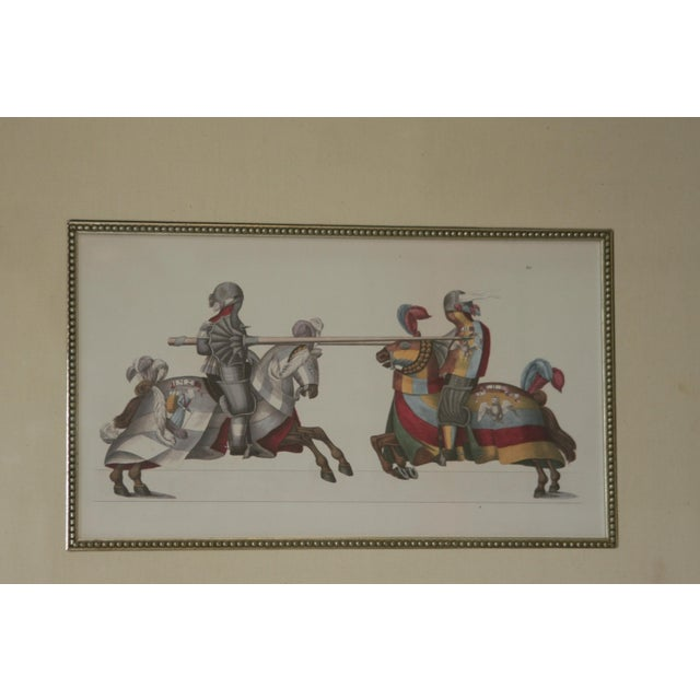 Fine Art Giclee Jousting Knights Pen And Ink With Watercolor Framed & Matted Tournaments And Parades Of Knighthood This is...