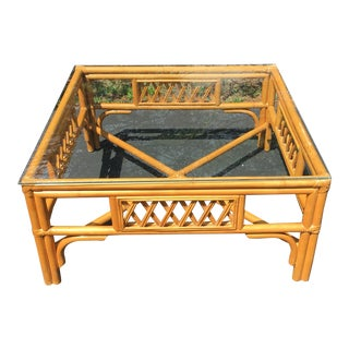 1960s Rattan Glass Top Table For Sale