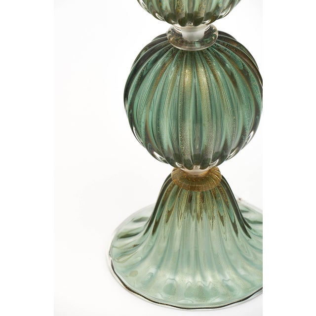 Gold Green Avventurina Murano Glass Lamps For Sale - Image 8 of 10