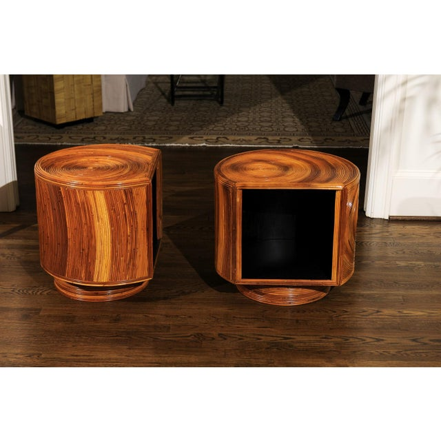 1970s Chic Restored Pair of Swivel Bamboo and Black Lacquer End Tables, Circa 1975 For Sale - Image 5 of 13