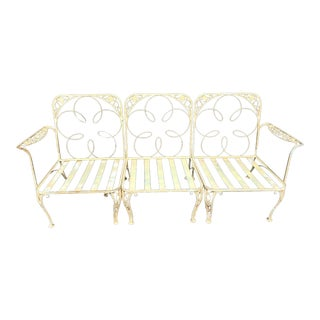 Antique English Garden Painted Wrought Iron Outdoor Sofa in 3 Seat Sections For Sale